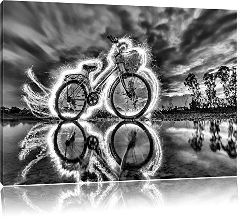 Pixxprint Burning Bike brennendes Fahrrad 120x80cm Leinwandbild Wandbild Kunstdruck