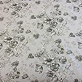 Stoff Meter Baumwolle grau Blumen Ranken überbreit hellgrau schwarz weiß 280 cm breit