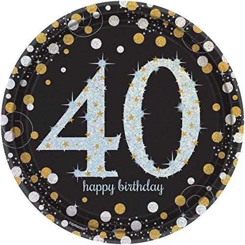 NEU Teller Happy Bday Sparkling 40, Ø 23 cm 8 Stk. (Bday Dekorationen 40)