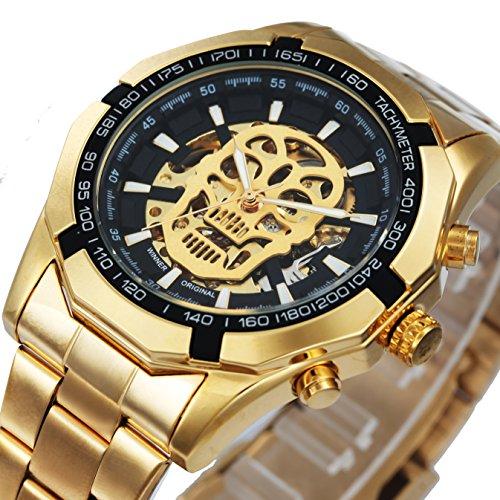 caluxe Luxus Golden Totenkopf Auto Mechanische Uhr Herren Edelstahl Trageriemen Steampunk Skelett Armbanduhren
