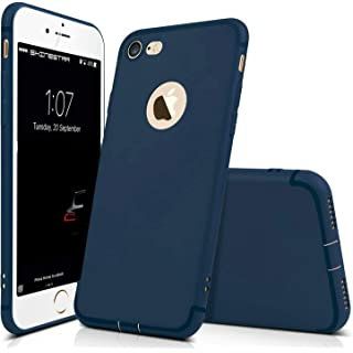 Enflamo Bumper Protective Soft Silicone Slim Back Cover Case for Apple iPhone 7  Plain Blue
