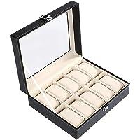 MJ Leather Watch Case Storage Box For Men Woman (10 Slot)