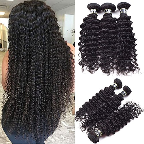 Deep Wave Curly Virgin hair 3 Bundles Wet and Wavy 100% Unprocessed Human Hair Weave Weft Extensions 95-105g/pc Natural Black Color Single Bundle