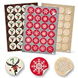 3 x 24 Weihnachtsaufkleber-Set: 1-24 Adventskalender-Zahlen HIRSCH + 48 rot weiß beige grün Aufkleber rund 4 cm Geschenkaufkleber Verpackung Weihnachtskalender basteln Sticker Deko Schneeflocke