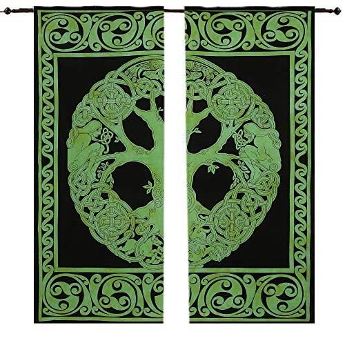 Indische Keltischer grüner Baum Wandteppich, Mandala, Baumwolle, Vorhang Hippie Wandteppich Tür-Vorhang, Mandala-Gardinen-Paar mit 82, Set von 2indischen Hippie, Bohemian Tagesdecke, für die Wand - Hanging Vorhang Rod