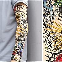 BIANJESUS Mangas Del Sol Mangas Del Tatuaje Hombres Manguito Protector Solar Fresco Mangas Del Brazo Bicicleta De Conducción Protección Contra Los Rayos UV Hombres Mujeres Joven Ciclismo,Yellow
