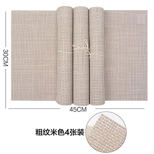 Tovaglietta in PVC isolamento Pad semplice occidentale cibo tovagliette tovagliette sottobicchieri tappetino piastra ciotola guarnizione, 4 Rough beige