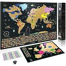 Weltkarte zum Rubbeln - Das Orginal von Wanderlust Maps   Rubbel Weltkarte (61 x 43cm) + Rubbelkarte Europa (46 x 33 cm)   Schwarz/Gold   mit Zubehör und Geschenkverpackung   Hergestellt in der EU