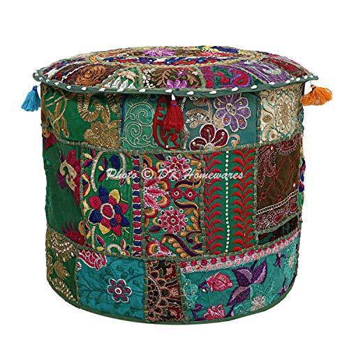 Puff Schaukelstuhl (DK Homewares Ethnischer runder Hocker Grün Patchwork Bestickte Baumwolle Möbel Dekorative Osmanische Fußstütze Sitzmöbel | (22x22x14 Zoll / 55 cm) NUR ABDECKEN)