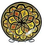 Simandra Orientalischer Keramik Teller Handbemalt marokkanische Keramikschüssel Wandteller klein Color Gelb