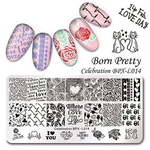 Born Pretty 1Pc Nail Art Plaque Stamping Rectangulaire en Thème de Saint Valentin BPX-L014