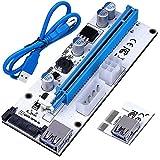 Washati® PCI-E Express 16x zu 1x Riser Card, 2018 Premium Version (008S, 3 möglichkeiten zur Stromversorgung) mit 60cm USB3 Kabel