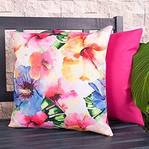 Gartenkissen Sitzpolster – 43cm x 43cm – wasserabweisend mit einer Textilfaserfüllung–, dekoratives Zierkissen für Gartenbänke, Stühle oder Sofas (1, Hawaii Blumenmuster)