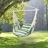 Holifine Hängesessel XL Hängesitz 120 x 150 cm Hängestuhl mit 2 x Kissen und Spreizstab aus Holz, Hängeschaukel Belastbarkeit bis 120 kg - Grün/Weiß Streifen