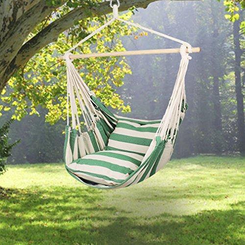 Holifine-Gran-tamao-Silla-colgante-para-terraza-o-jardin-Silla-de-Algodn-y-Poliester-de-120-x-150cm-Resistencia-de-120kg-2-x-Almohada-de-50-x-50cm-Verde-Blanco
