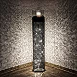 albena shop 73-150 Gadi orientalische Windlichtsäule Metall/Glas (Gr.L mit LED Lichterkette)