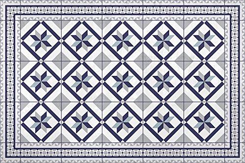 Unbekannt HD86 Daphnée Teppich, Vinyl, blau, 120 x 60 x 0,22 cm -