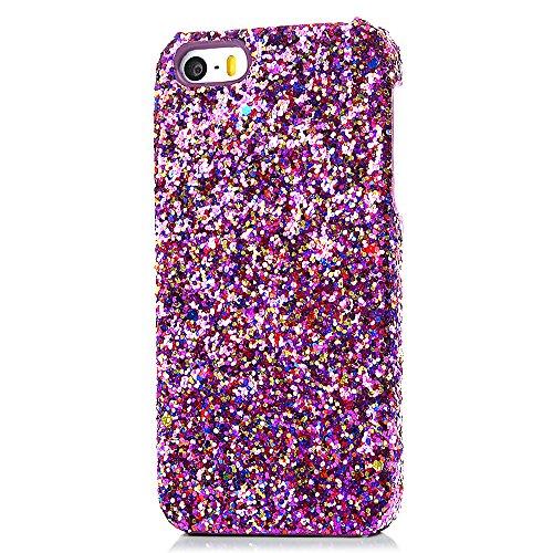 Mavis's Diary Coque iPhone 5 Coque PC Rigide Violet avec Granules Multicolores Phone Case Cover Coque de Protection avec Chiffon Nettoyeuse Motif 3