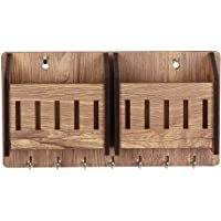 Sehaz Artworks 2-Pocket-WT-KeyHolder Wooden Key Holder (7 Hooks)
