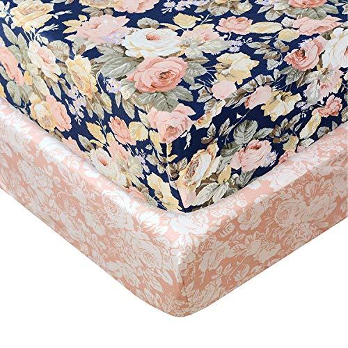 TEALP Floral Crib Sheet Blush Pi...
