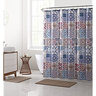 VCNY Home Shower Curtain and Bath Rugs Set, Polyester, Taupe, 72x72