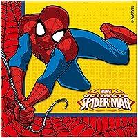 Procos–Servilletas de papel de la serie Spider-Man Ultimate - Medidas 33x 33cm - Doble hoja - Colores predominantes rojo/azul/amarillo - Cantidad 20 unidades