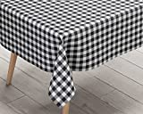 Ideal Textiles Gingham Black PVC Tablecloth, Easy Clean Table Cloth, Wipe Clean Vinyl Table Linen, Kitchen Dinner Party Tableware, Country Check Design Table Cover, Black & White, 137cm x 280cm
