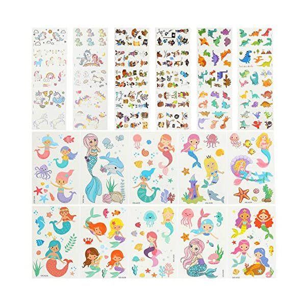 EKKONG Tatuaggi Temporanei per Bambini, 40 Fogli Tatuaggi Set de Unicorno e Dinosauro e Pirata e Sirena, Tatuaggi Finti… 2 spesavip