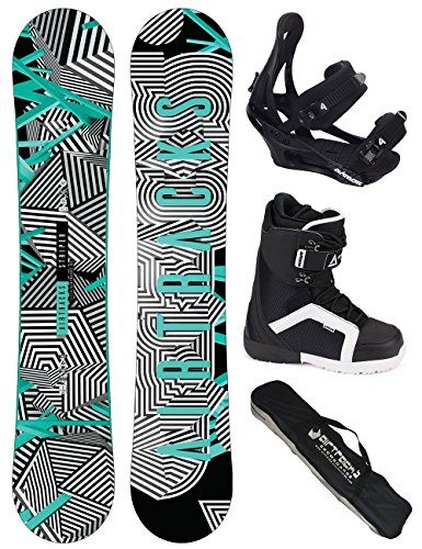 AIRTRACKS Snowboard Komplett Set / Stripes Wide Snowboard Flat Rocker + Softbindung Savage + Boots + SB Bag / 150 155 160 165 / cm