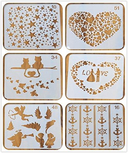 12,7x 12,7cm Tagebuch Karten Schablonen, ♣ buyby Heißklebestifte handgefertigt DIY Zeichnen Vorlage Malen Planer