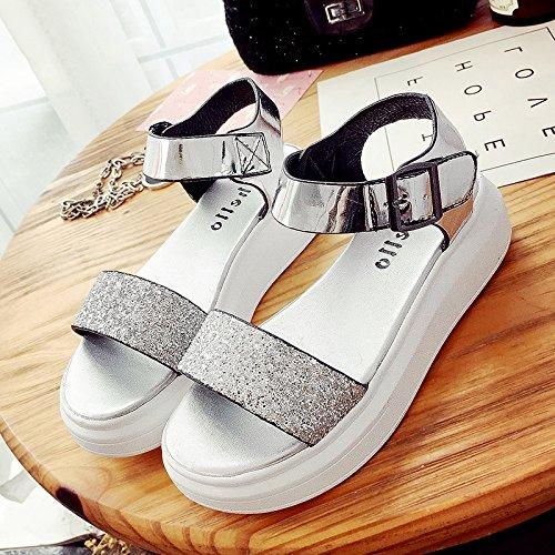 Rugai-eu Sandales D'été Femmes À Fond Plat Étudiants À Fond Plat Souvent Silvery Buckle Shoes