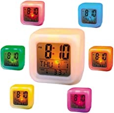 Colour Changing LED Digital Alarm Clock with Date, Time and Temperature for Office and Bedroom
