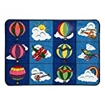 Add a little adventure to your day with the Flagship Carpets Washable Flight Blocks Rug. Bright colors and an assortment of flight-related pictures allows kids to let their imaginations reach for the sky. The stain-resistant and washable nylon constr...
