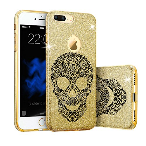 EGO ® Hülle Glitzer Schutzhülle für Samsung A510 Galaxy A5 2016, Queen Gold Back Case Bumper Glänzend Transparente TPU Bling Weiche Glamour Handy Cover Lipgloss Totenkopf Gold