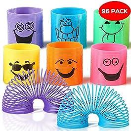96 Mini Smiley Primavere Arcobaleno in Colori Assortiti – Slinkys Ideali Per Omaggi Di Feste, Favori Di Giocattoli, Sacchetti Per Compleanni E Natalizi E Riempitivi Di Calze, Premi Di Classe