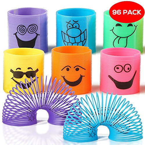 The Twiddlers 96 Mini Smiley Rainbow Springs in Assorted Colours - Ideal Slinkys for Party, Toy Favours, Birthdays & Christmas Bags & Stocking Fillers, Class Prizes
