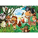 Vlies Fototapete 300x210 cm PREMIUM PLUS Wand Foto Tapete Wand Bild Vliestapete - JUNGLE ANIMALS PARTY no.2 - Kinderzimmer Kindertapete Zoo Tiere Safari Comic Party Dschungel - no. 087