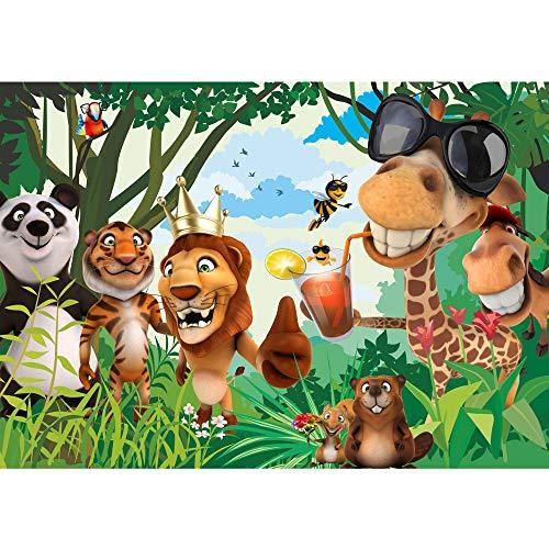 Vlies Fototapete 300x210 cm PREMIUM PLUS Wand Foto Tapete Wand Bild Vliestapete - JUNGLE ANIMALS PARTY no.2 - Kinderzimmer Kindertapete Zoo Tiere Safari Comic Party Dschungel - no. 087