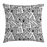 KLYDH Old Newspaper Decor Throw Pillow Cushion Cover, Hand Drawn Newspapers Pattern Publication Journalism Events, Decorative Square Accent Pillow Case, 18 X 18 Inches, Black White Silver