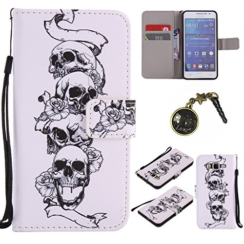 für Galaxy Grand Prime/SM-G530 G531F Hülle, Klappetui Flip Cover Tasche Leder [Kartenfächer] Schutzhülle Lederbrieftasche Executive Design +Staubstecker (9EE)
