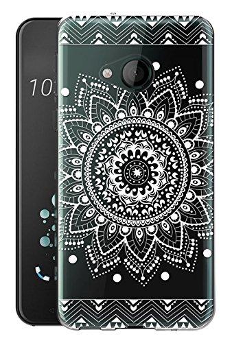 Für HTC U11 Life Hülle Silikon,Sunrive Transparent Handyhülle Schutzhülle Etui Case Backcover für HTC U11 Life 5,2 Zoll(tpu Blume Weiße)+Gratis Universal Eingabestift