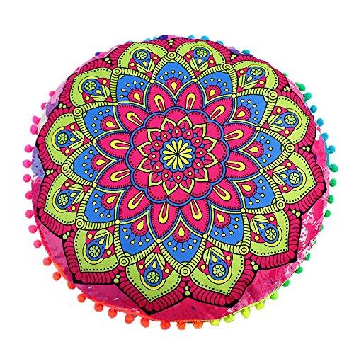 LEEDY - Funda de cojín Redondo con diseño de Mandala India, poliéster, A, Medium