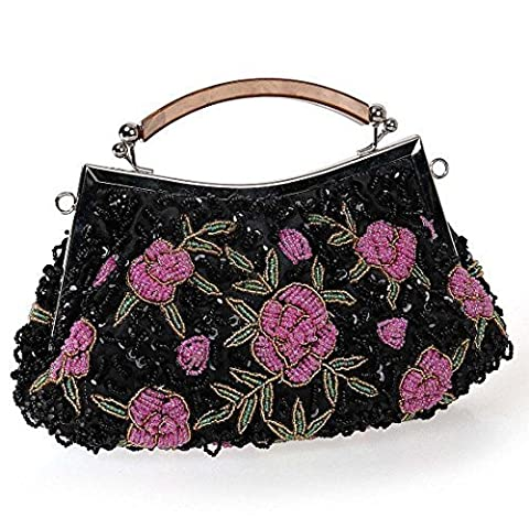 BMC Womens Midnight Black Tiny Bead Encrusted Pink Flower Design Clutch Evening Bag