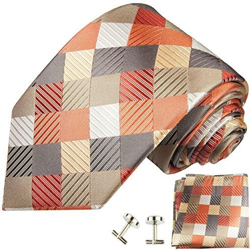 Cravate orange rouge á carreaux ensemble de cravate 3 Pièces ( 100% Soie Cravate + Mouchoir + Boutons de manchette )