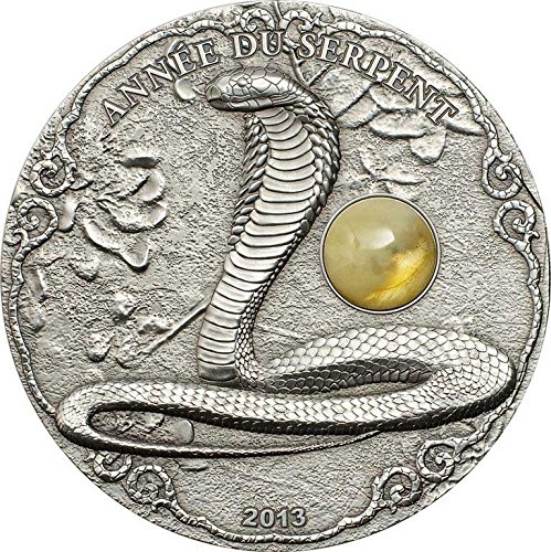 SNAKE AMBER Lunar Year Chinese Zodiac 2 Oz Silver Coin 1500 Francs Togo 2013