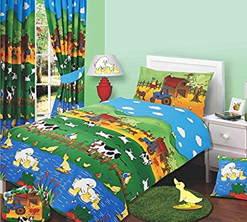 Junior Bed Size Farmyard Friends Duvet Cover Set, Farm Animals Cows Sheep Duck Ducklings Swan Chicks Chickens Tractor Love Birds, Green Blue Yellow Orange Red