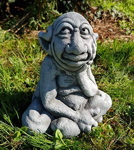 HQ-Beton Manufaktur niedliche Gartenfigur Gnom Charaktertyp der Denker handbemalt frostfest Deko für außen Garten Terrassen Balkon Steinfiguren