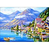 DIY 5D Diamond Painting by Number Kits, Full Drill Crystal Rhinestone Embroidery Pictures Arts Craft for Home Wall Decor Gift, Riverside Town