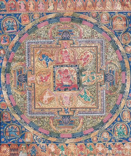 Mandala of Achala in Yab Yum (Large Thangka) - Tibetan Thangka Painting