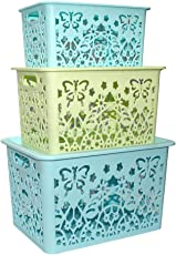 Siddhi Collection Storage Boxes Premium Quality Plastic Set of 3 with Lid-Flexible 3 Assorted Colors Organizing Storage Baskets